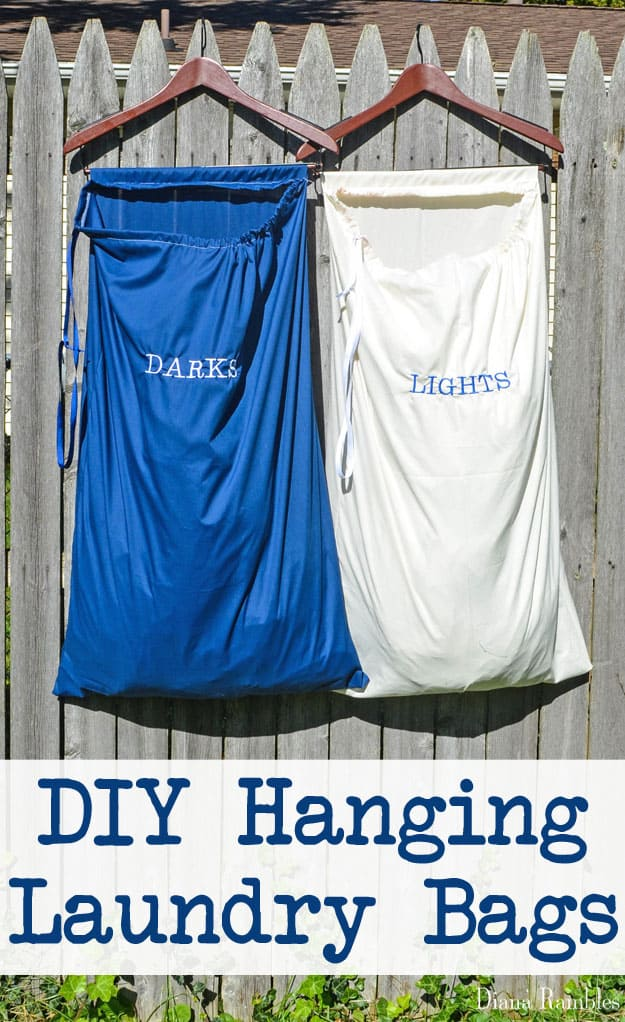 DIY Hanging Laundry Bags Tutorial - Create these hanging laundry bags for small spaces like dorms or apartments.