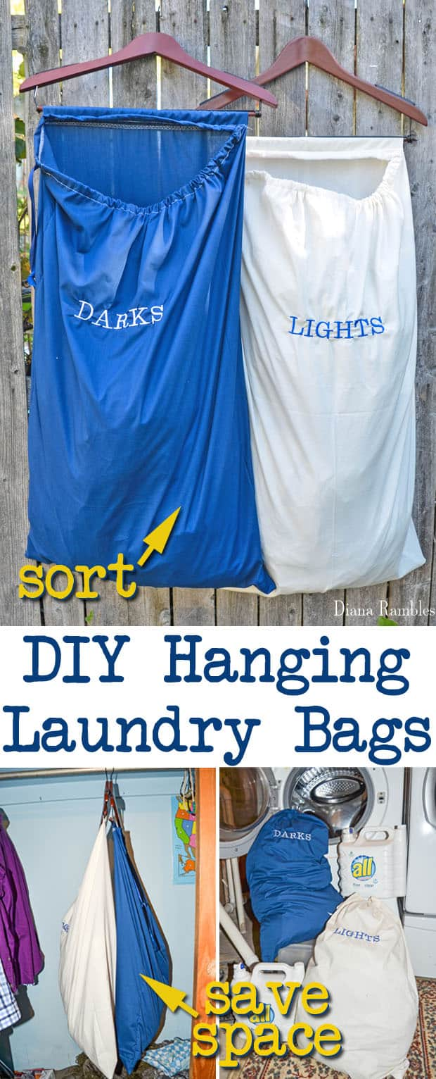 DIY Hanging Lights and Darks Laundry Bags Tutorial - These hanging laundry bags save you space and help with sorting laundry.