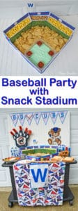 How to Host a Baseball Party with Snack Stadium - Create this fun baseball snack stadium and host a baseball viewing party or a baseball-themed birthday party.