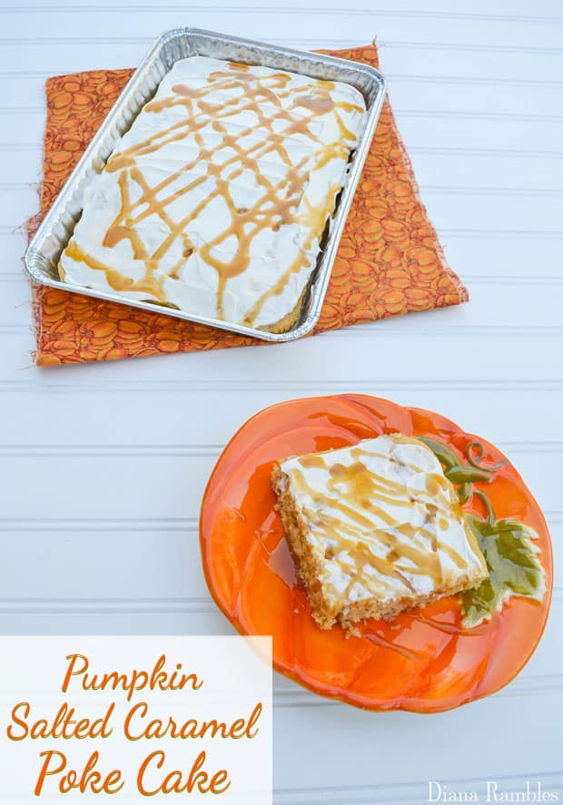 Pumpkin Salted Caramel Poke Cake - Poke Cake made with a pumpkin cake mix and salted caramel topping.