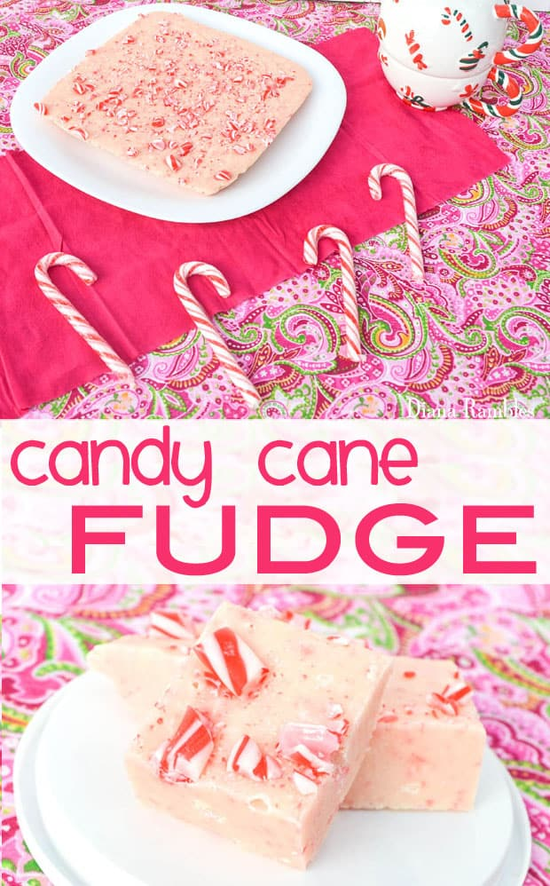 Candy Cane Fudge made in the Microwave - Need a tasty treat for the holidays? Create this Candy Cane Fudge in the microwave. This rich minty fudge is perfect for any Christmas gathering. #candycane #fudge #Christmas #dessert