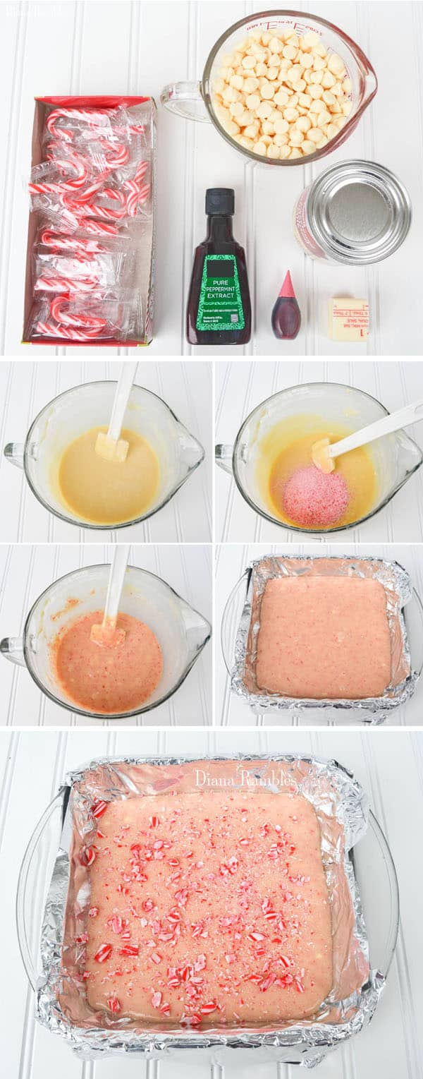 collage of how to make candy cane microwave fudge