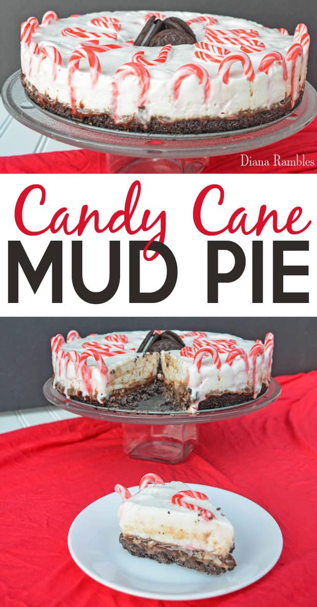 Candy Cane Mud Pie Recipe - Want a special dessert recipe for the holidays? Try this rich Mint Chocolate Candy Cane Mud Pie for your next party or family gathering. #candycane #mint #fudge #pie #icecream #mudpie