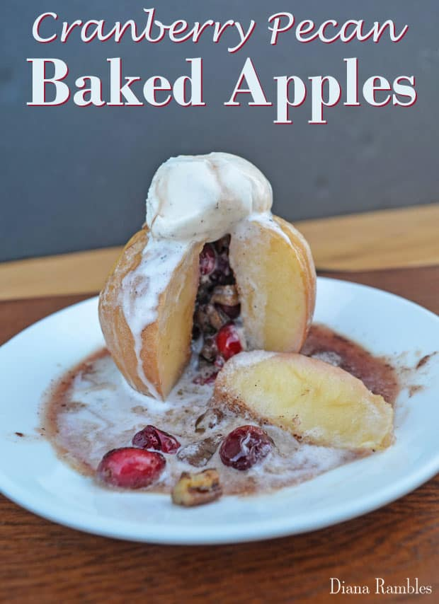 Cranberry Pecan Baked Apples -These Cranberry Pecan Baked Apples topped with vanilla ice cream are a special treat.