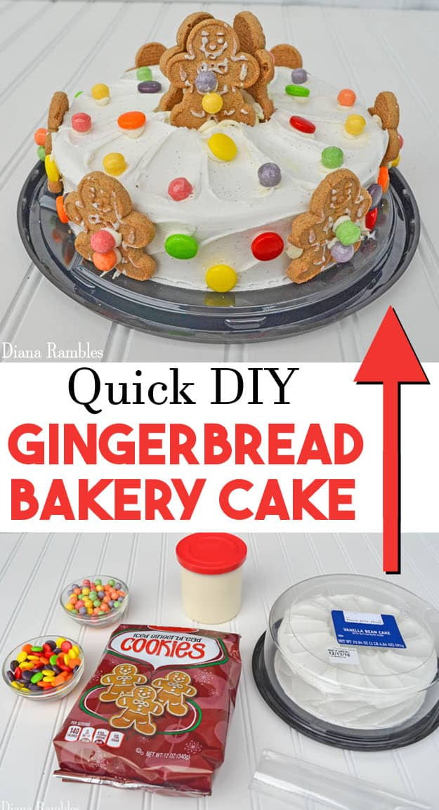 DIY Gingerbread Bakery Cake Hack - Create this cute Gingerbread Bakery Cake in minutes with pre-made ingredients. #gingerbread #cake #bakery #hack
