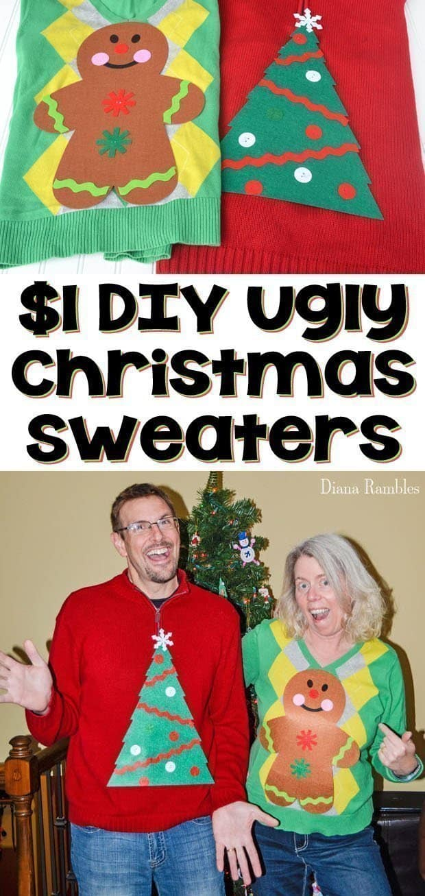Quick $1 DIY Ugly Christmas Sweaters - Create this DIY Ugly Christmas Sweater with a $1 craft kit. You will be ready for a holiday party in minutes with this easy tutorial. This unique ugly sweater will be a hit at your next Christmas party. #uglyChristmassweater #uglychristmas #christmasparty #DIY