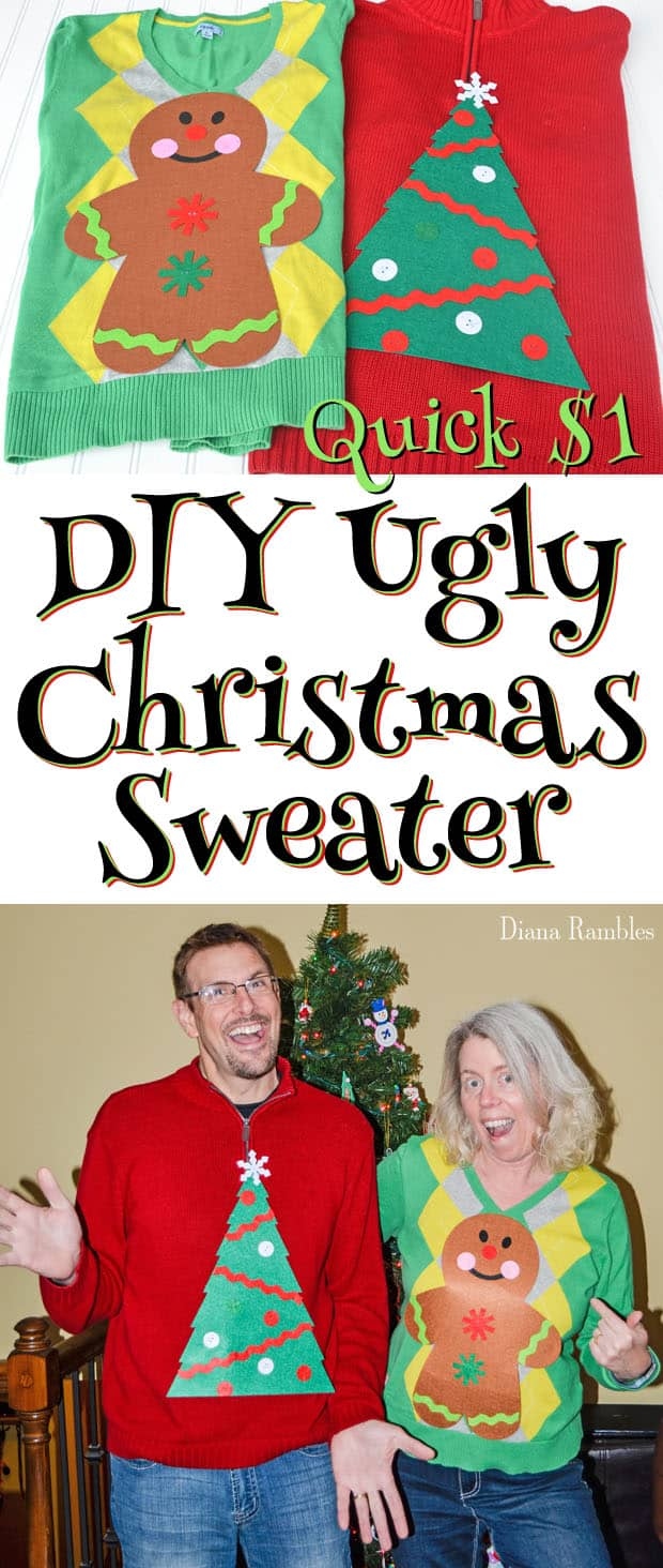 Quick $1 DIY Ugly Christmas Sweaters - Create this DIY Ugly Christmas Sweater with a $1 craft kit. You will be ready for a holiday party in minutes with this easy tutorial.