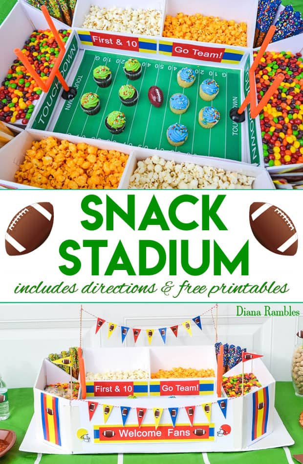 DIY Football Snack Stadium Tutorial - Hosting a Game Day Party? Impress your guests this Football Snack Stadium. It's easy to make and fill with your favorite football party snacks. Directions and free stadium decor printable are included. #snackstadium #football #DIY #footballparty #freeprintables