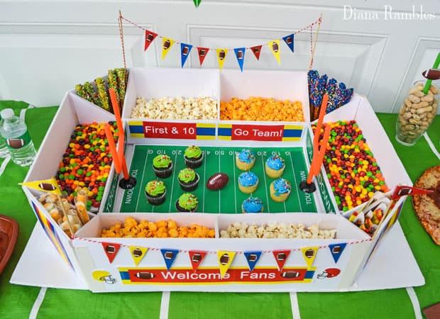 super bowl snack stadium with food
