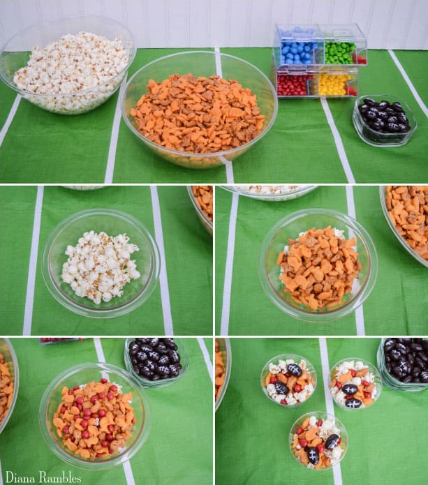 collage of directions for a custom  football snack mix