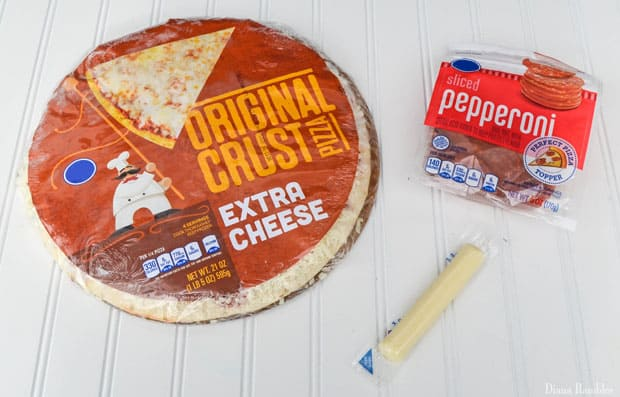 ingredients for a football party pizza