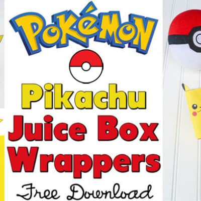 Pikachu Juice Box Wrappers