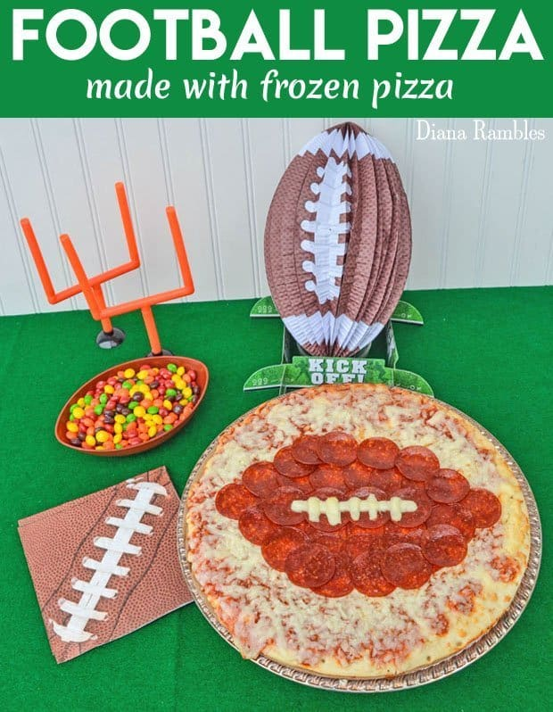 Frozen Football Pizza Recipe Tutorial - Create this fun Football Pizza for your Super Bowl party using a frozen pizza and pepperoni. It's perfect for any football party celebration. #footballparty #gameday #pizza #DianaRambles