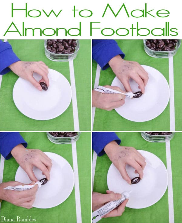 college showing how to make ae edible football out of almonds