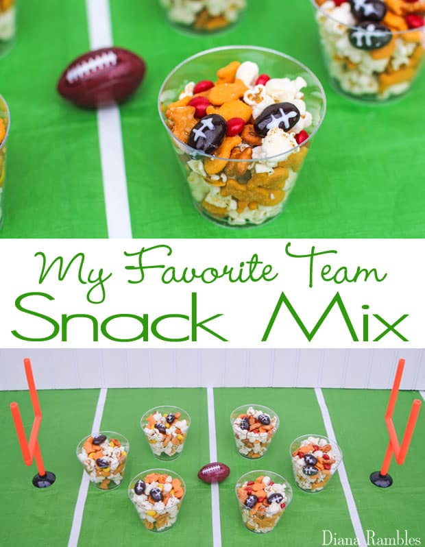 My Favorite Football Team Snack Mix Recipe Party Tutorial - Make a sweet and salty snack mix with this favorite team snack mix. It's hands-on fun for kids of all ages. It's the best snack mix for your football party.