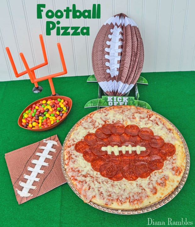 Football Pizza made with a frozen cheese pizza and pepperoni