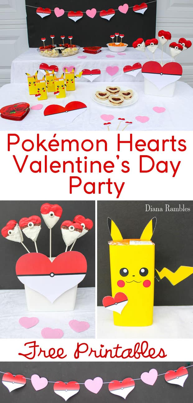 Pokémon Valentine's Day Party with Heart Party Decorations - Host a Pokemon Valentine's Day Party for your child using these free party printables. These Pokémon Valentines party decorations can be printed at home. Perfect for kids who love Pokemon. Check out my other Pokémon free printables. #Pokemon #Pikachu #ValentinesDay #Party #FreeDownload