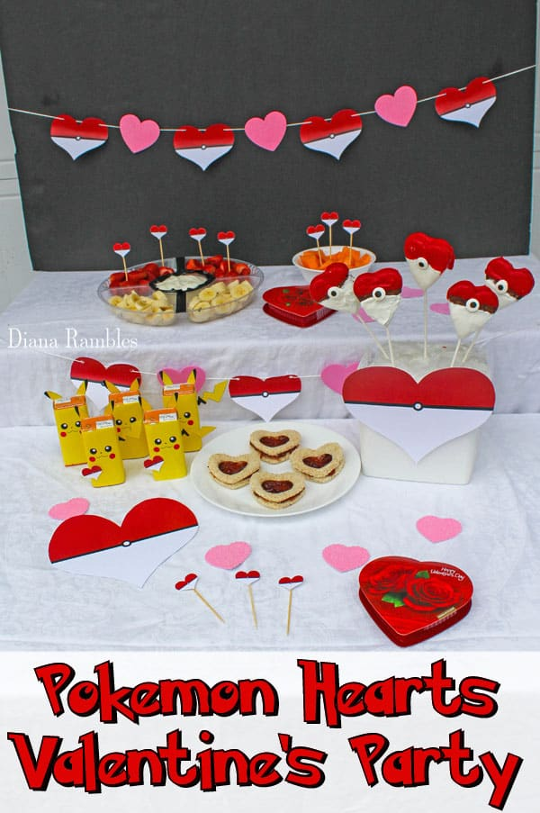 Pokémon Heart Balls Valentine's Day Party - Have a Pokémon Valentine's Day Party for your child using these free party printables. These Pokemon valentines party decorations can be printed at home.