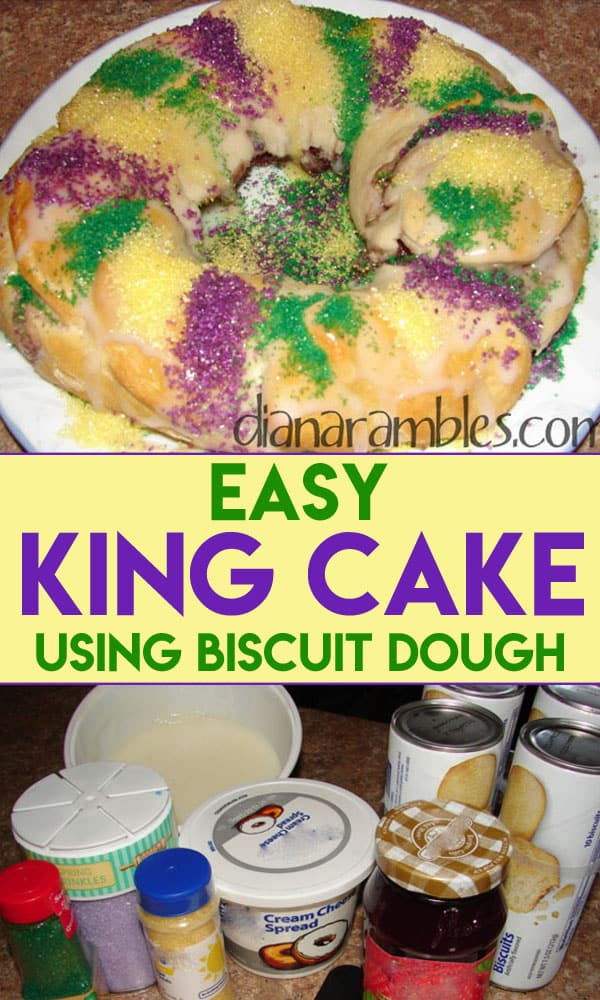 Easy King Cake Recipe for Mardi Gras - Want to celebrate Mardi Gras? Try this easy recipe for King Cake. This Mardi Gras Baby Cake is the best King Cake recipe to make on Fat Tuesday. #MardiGras #FatTuesday #KingCake #NOLA #cake