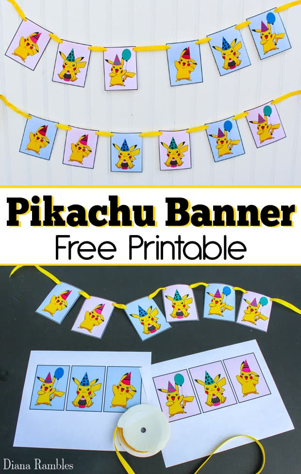 Free Pikachu Party Banner Printable - Throwing a Pokemon Birthday Party? Print out these free Pikachu Party Banner printables to create cute Pokemon Party Decor.