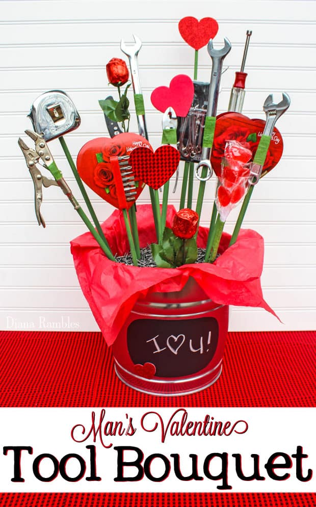 Candy and Tool Bouquet for Valentine's Day Tutorial - Want to create your own bouquet for your man for Valentine's Day? Make this candy and tool bouquet. He'll love this tool and candy basket.