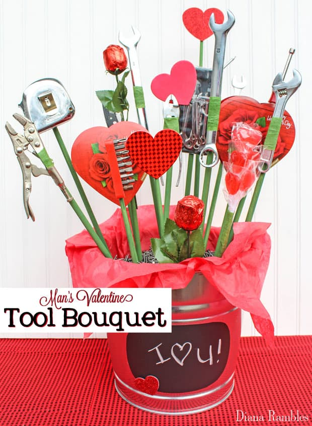 Make Your Own Tool Bouquet for Valentine's Day - Want to make your own bouquet for your man for Valentine's Day? Make this candy and tool bouquet. He'll love this useful tool and candy basket.
