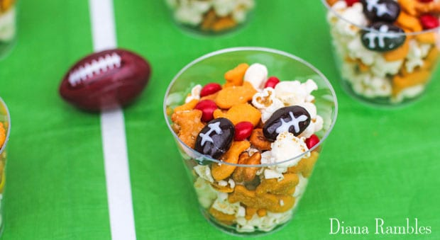 close up of football snack mix