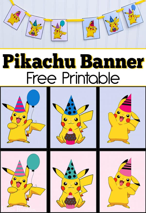 graphic relating to Free Printable Pokemon identified as Free of charge Pikachu Get together Banner Printable for a Pokemon Get together