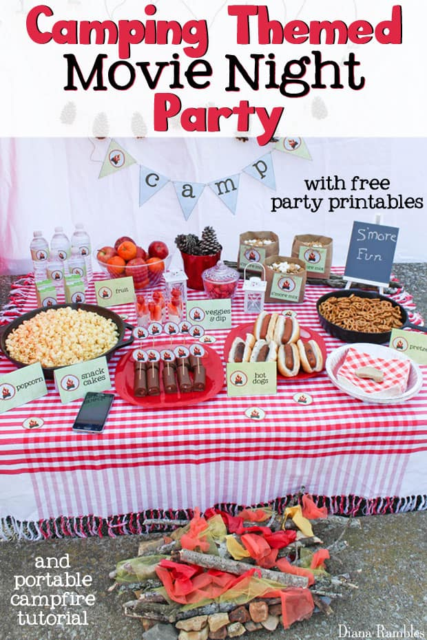 Camping Party Movie Night with Free Printables - Love camping but can't go? Host a camping party at home with these free camping themed printables. Perfect for a birthday party or movie night in the backyard.