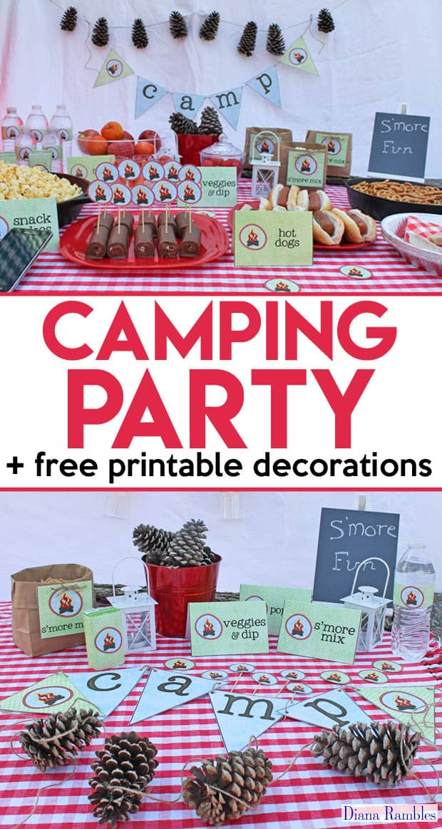 Camping Party Movie Night with Free Party Printables - Love to go camping but can't leave home? Host a camping party in your backyard with these free camping themed printables. Perfect for a birthday party or movie night. width=