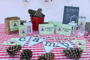Camping Party Movie Night with Free Party Printables - Love to go camping but can't leave home? Host a camping party in your backyard with these free camping themed printables. Perfect for a birthday party or movie night.