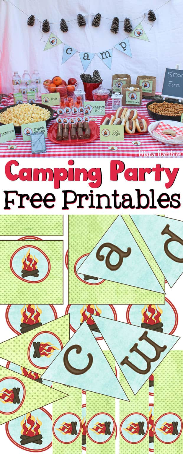 Camping Party with Free Party Printables - Love to go camping but can't leave home? Host a camping party in your backyard with these free camping themed printables. Perfect for a birthday party or movie night. These free printables include a camp banner, water bottle and juice box labels, food pick toppers, and food labels.