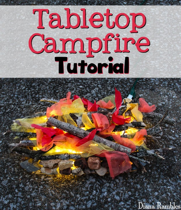 Tabletop Portable Campfire Tutorial - Create this faux fire to be used at a camping party or for other backyard fun. This fake campfire is easy to make using items found in nature.