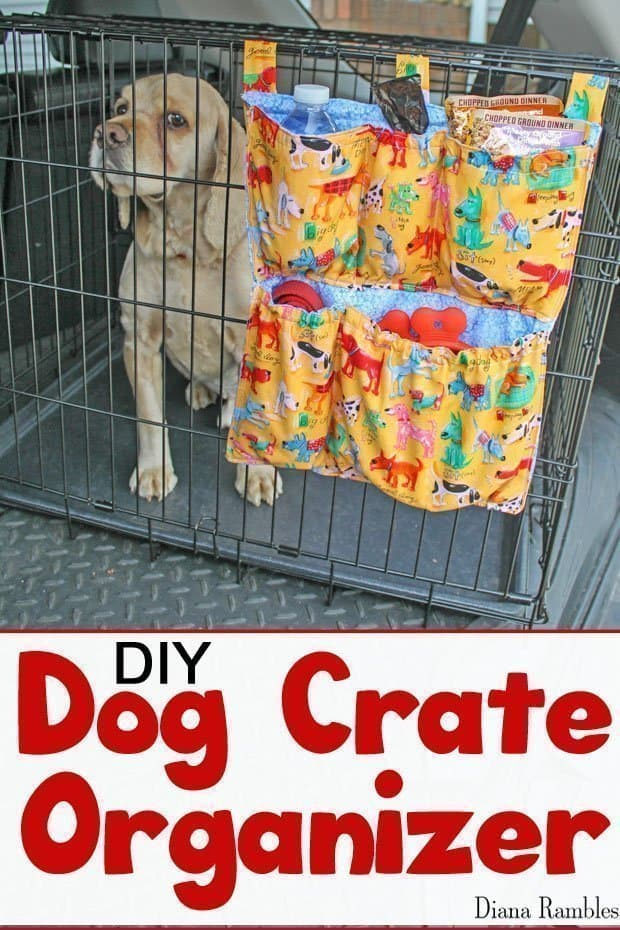 DIY Dog Crate Organizer Tutorial - On the go with your pet? Create this Dog Crate Organizer that attached to the outside of a pet carrier to hold food and pet supplies.