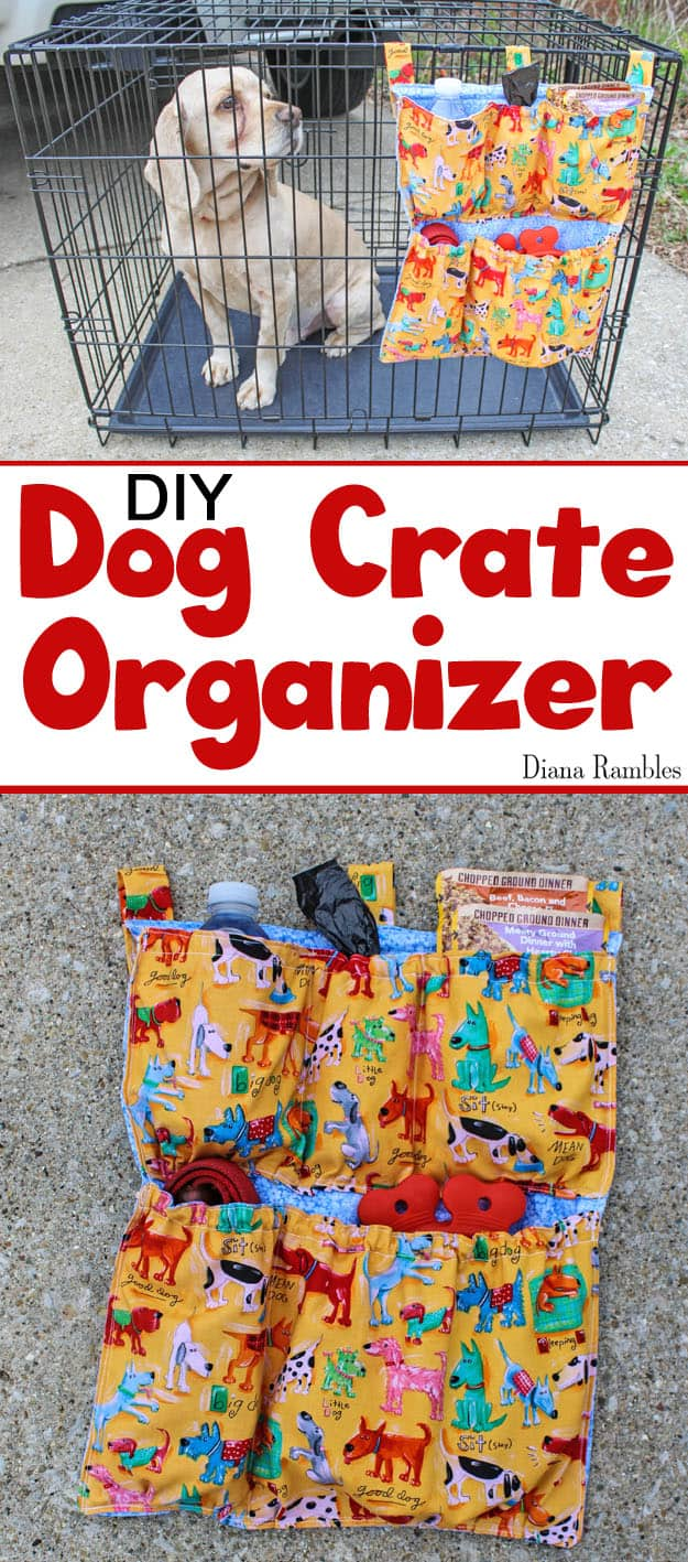 DIY Dog Crate Organizer Sewing Tutorial - Are you on the go with your pet? Create this Dog Crate Organizer that attached to the outside of a pet carrier to hold food, water, and pet supplies. It's perfect for car travel and camping.