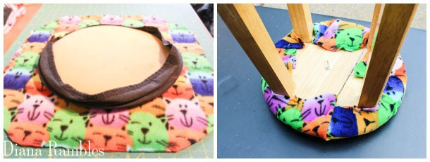 staple cat fabric to the top of the stool