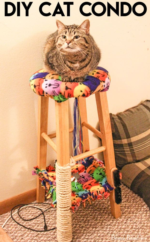 diy cat condo made from an old stool diy cat condo from a stool with a scratching post  rh   dianarambles