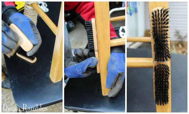 attach brushes to leg of stool