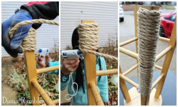 glue rope to stool leg to make a scratching post