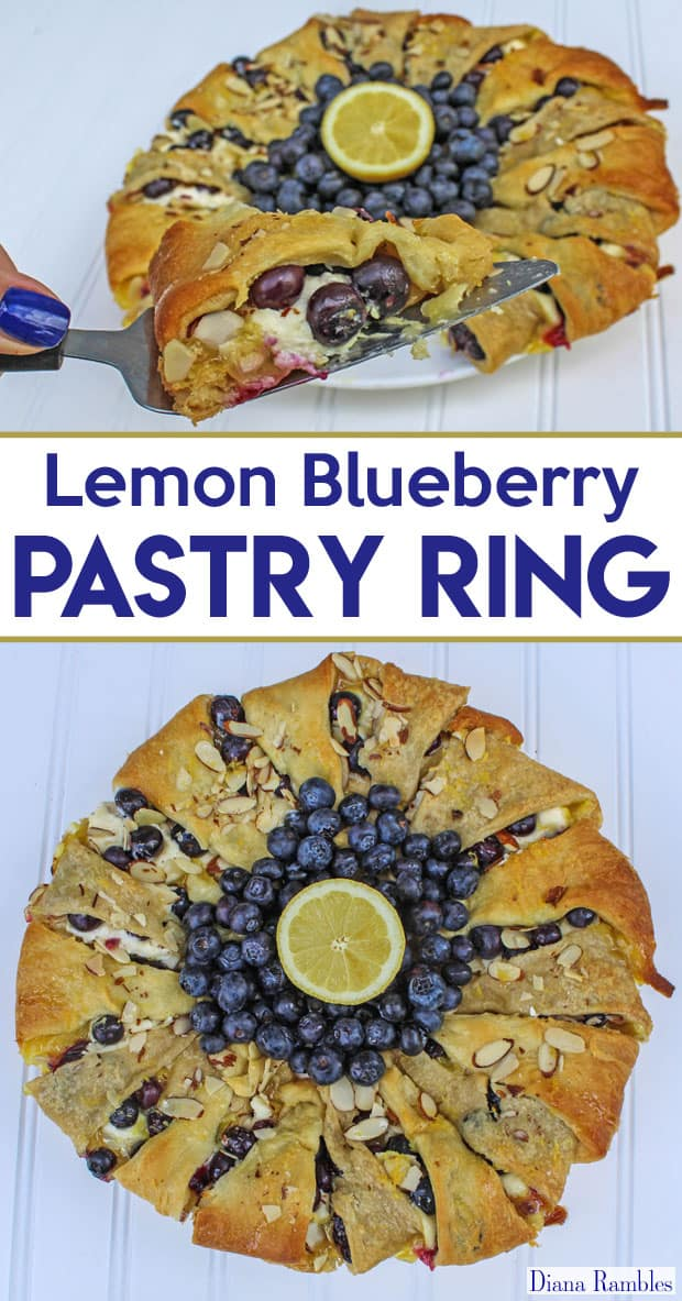 Lemon Blueberry Pastry Ring - Need a unique pastry for a brunch? Try this Lemon Blueberry Crescent Roll Cream Cheese Pastry Ring Recipe made with fresh blueberries and lemon curd. Make it with or without Almonds.