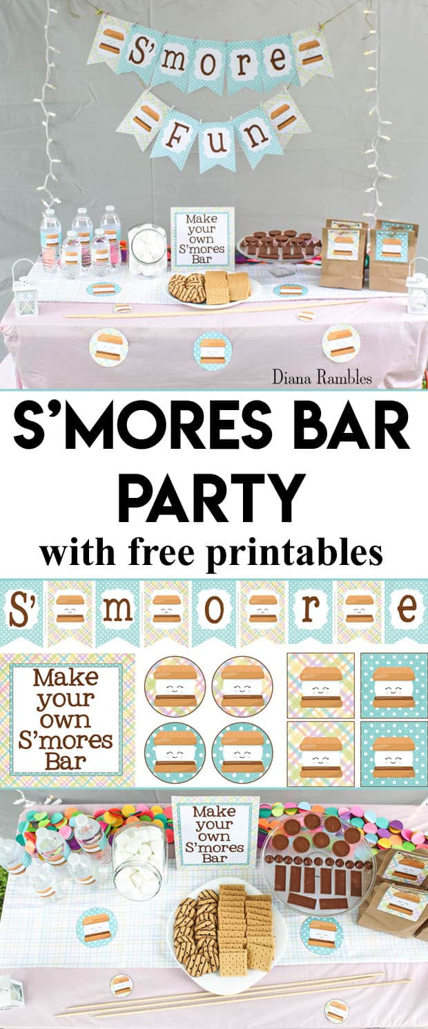 S'mores Bar Backyard Party with Free Printables - Want to throw a backyard party for your child? Host a S'mores themed slumber party using these free printables. Enjoy S'mores and movies under the stars.