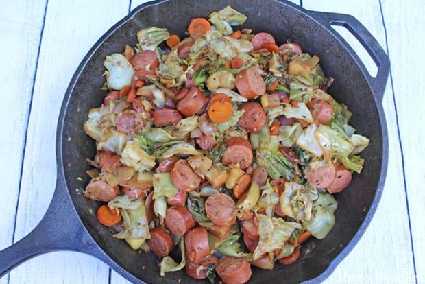 Kielbasa Cabbage Dinner Skillet