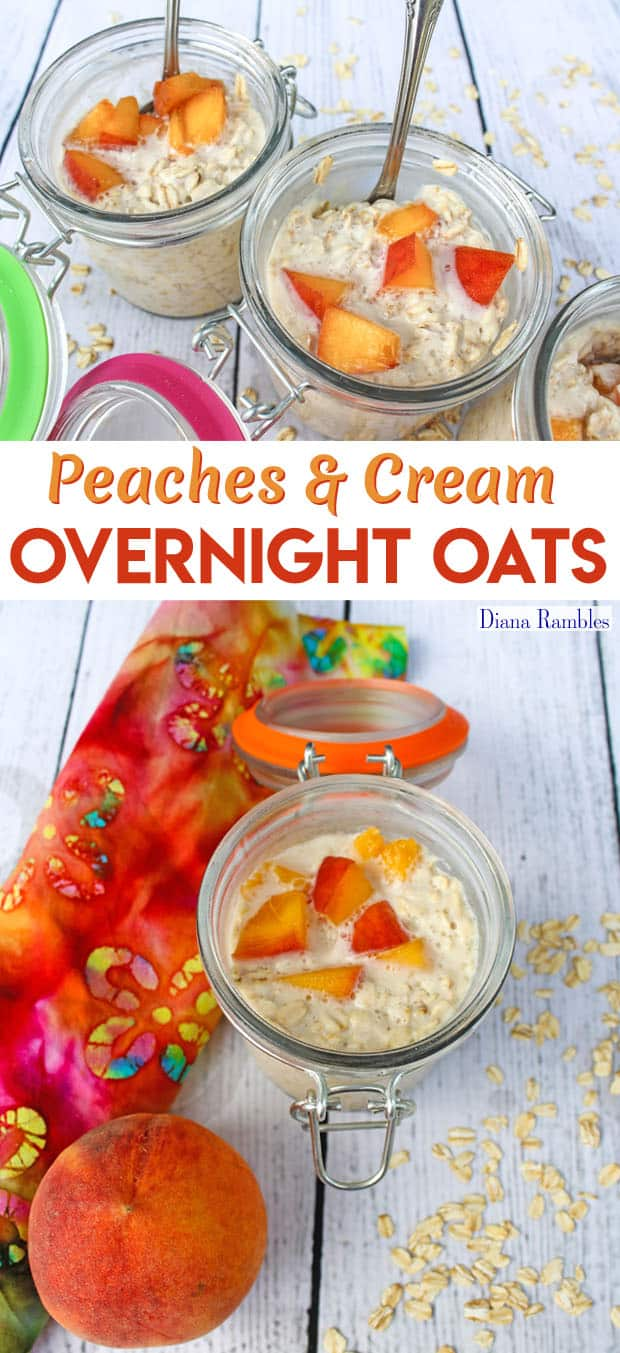 Dairy-Free Peaches and Cream Overnight Oats Breakfast Recipe - Need a dairy-free breakfast? Try this Peaches & Cream Overnight Oats recipe. This tasty recipe is made before bed and ready in the morning without cooking.