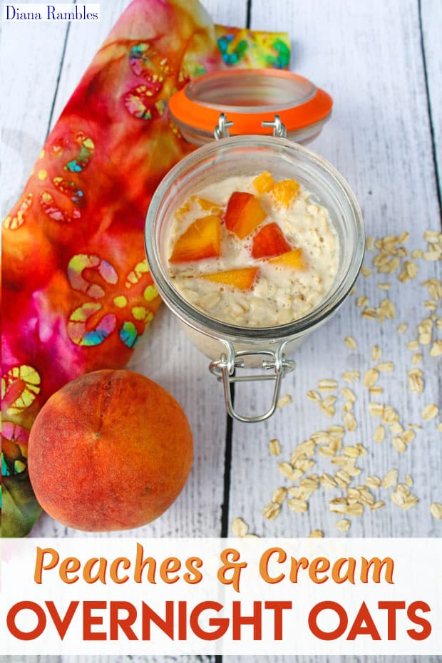 Peaches & Cream Overnight Oats Recipe - Need a dairy-free breakfast? Try these Peaches & Cream Overnight Oats. This tasty recipe is made before bed and ready in the morning without cooking.