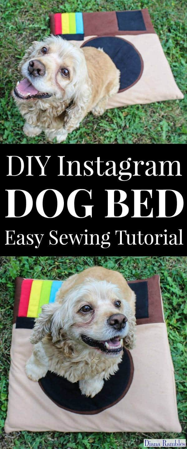DIY Instagram Dog Bed Simple Sewing Tutorial - Do you love taking photos of your dog to post on Instagram? Make this easy DIY Instagram Dog Bed for your pooch so they can be on Instagram whenever they want. They don't even need their own account!