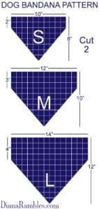 Dog Bandana Pattern Size Chart - Pattern Guidelines for Creating a Personalized Dog Bandana.