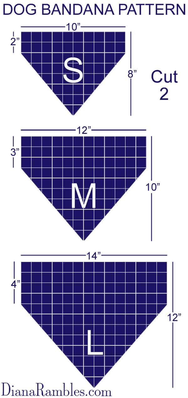 Dog Bandana Pattern Size Chart - Pattern Guidelines for Creating a Personalized Dog Bandana #dog #sewing #pattern