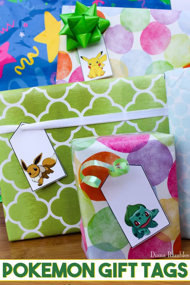 Pokémon Gift Tags Free Download Printable - Giving a gift to a Pokémon lover who has to catch 'em all? Download and print these Pokemon Gift Tags to put on their present. These free printables are prefect for birthdays. There are also Christmas gift tags. #Pokemon #freeprintable #tags #gifts #birthday