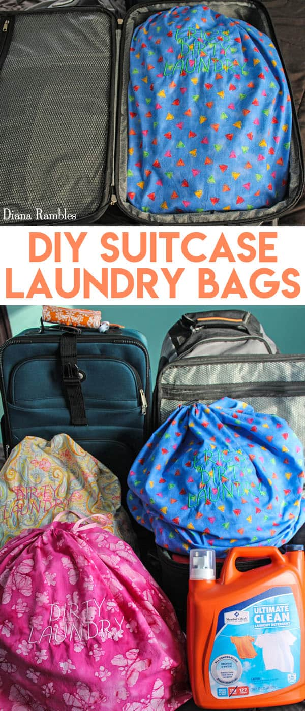 DIY Personalized Suitcase Laundry Bag Sewing Tutorial - What is the best way to do laundry while traveling? Use a Suitcase Laundry Bag for each person. This travel wash bag is like laundry to go for travelers. #travel #suitcase #laundry #luggage