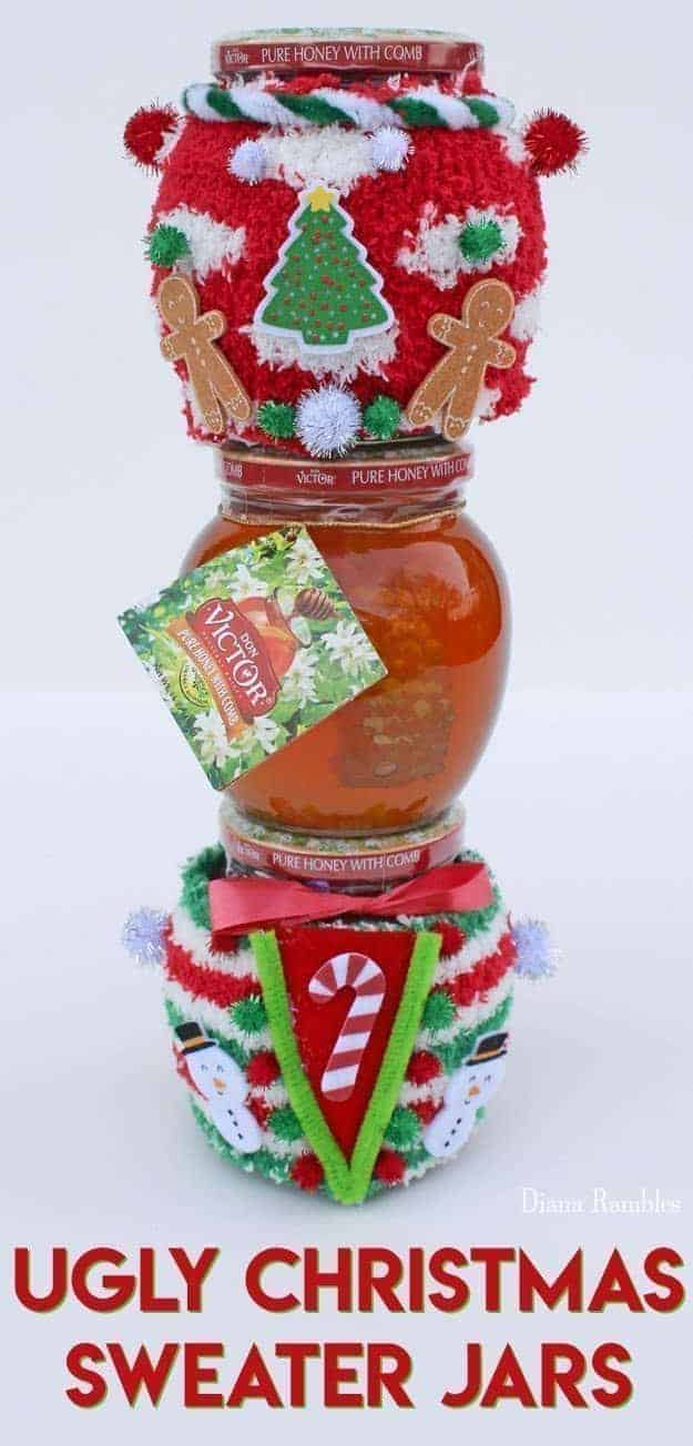 DIY Ugly Christmas Sweater Jar Cozies - Does your family or office host an annual Christmas Party with an Ugly Christmas Sweater contest? Create these adorable Ugly Christmas Sweater Jars for prizes or gifts. These jars of honey wearing festive holiday swears are fun and easy to make. #uglyChristmasSweater #UglyChristmas #ChristmasParty #prizes #ChristmasGift #DIY